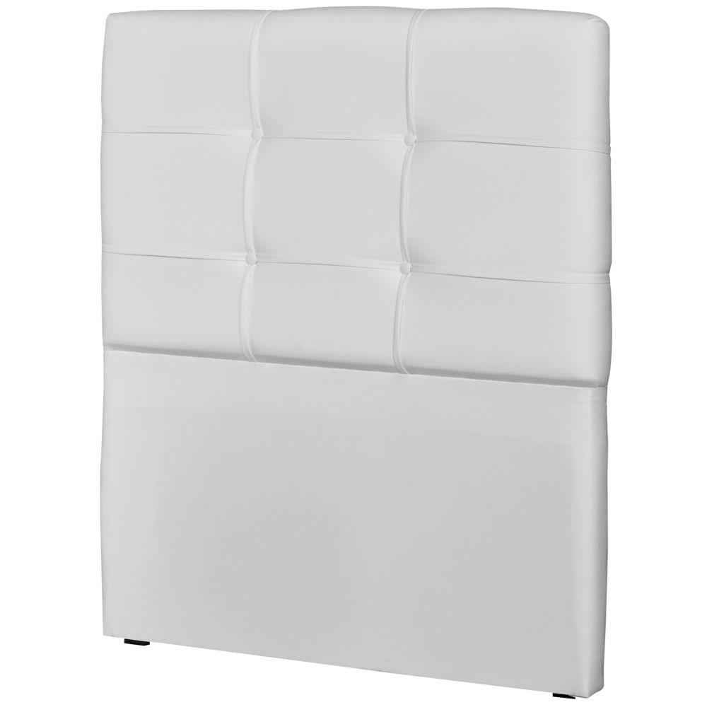 Cabeceira Solteiro Cama Box 90cm London Corino Branco - JS Móveis