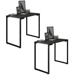 Kit 2 Mesas para Computador Escrivaninha 90cm Estilo Industrial New Port  F02 Preto - Mpozenato