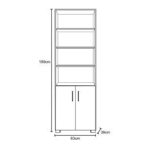 Estante Livreiro Multiuso Portas Pequenas 6 Prateleiras Office Branco White - Móveis Leão