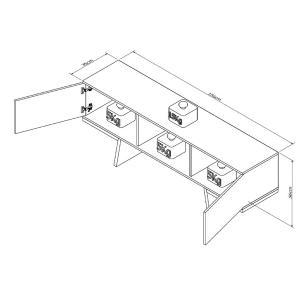 Rack Aparador para Sala de Estar 2 Portas Nicho RAC 3502 Branco/Castanho - Appunto
