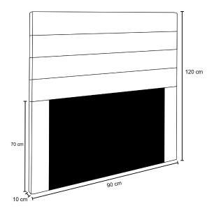 Cabeceira Cama Box Solteiro 90CM Rubi D10 Suede Preto - Mpozenato