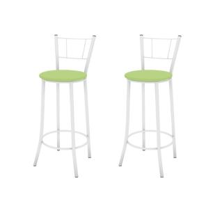 Kit 2 Banquetas Altas Encosto Maior 92 cm Branco/Verde - Marcheli