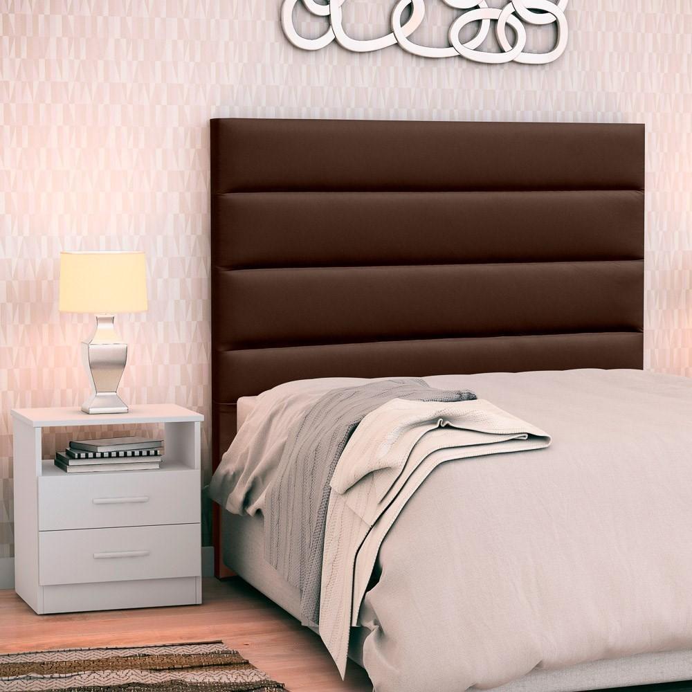 Cabeceira Cama Box Solteiro 90cm Greta Corano Marrom e 1 Mesa de Cabeceira Flex DM1 Branco - Mpozenato