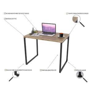 Kit 2 Mesas de Escritório Office 90cm Estilo Industrial Prisma C08 Carvalho - Mpozenato