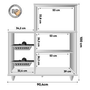 Armário Multiuso com Fruteira e Nicho Micro-ondas 2 Portas Munique L03 Branco - Mpozenato