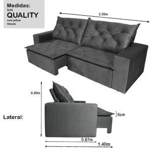 Sofá 4 Lugares Quality 2,50m com Pillow Retrátil e Reclinável Veludo Grafite