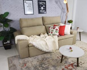 Sofá 3 Lugares Connect Plus 2,10m Retrátil e Reclinável Veludo Bege