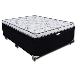 Cama Box Casal Baú Conjugado 138x188x55cm Onix - Preto
