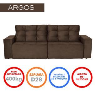 Sofá 4 Lugares Argos 2,50m Retrátil e Reclinável Veludo Marrom