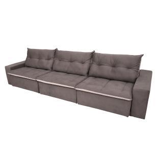 Sofá 6 Lugares Miró Com Pillow 3,50m Retrátil e Reclinável Pena