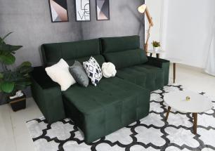 Sofá 4 Lugares Connect 2,30m Retrátil e Reclinável Veludo Premium Verde Esmeralda