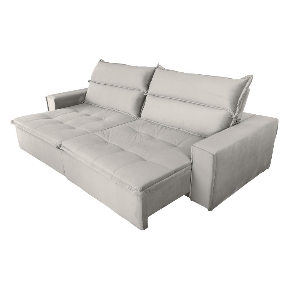 Sofá 4 Lugares Ethios com Pillow Retrátil e Reclinável Veludo Premium - Bege