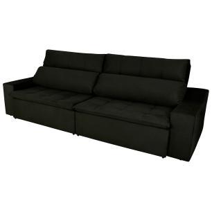 Sofá 4 Lugares Connect 2,30m Retrátil e Reclinável com Pillow e Molas Veludo Preto