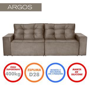Sofá 3 Lugares Argos 2,10m Retrátil e Reclinável Pena - Camurça