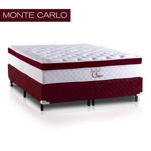 Cama Box Queen + Colchão de Molas Ensacadas e Látex Monte Carlo (158x198x72) Bordô