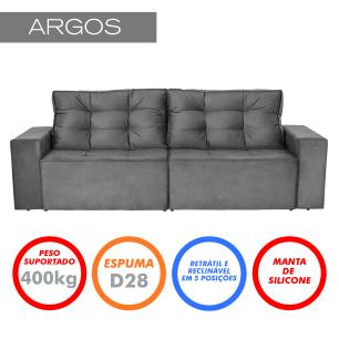 Sofá 3 Lugares Argos 2,10m Retrátil e Reclinável Veludo Grafite