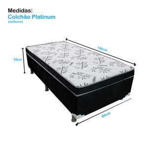 Cama Box Solteiro Conjugado Platinum (88x188x58cm) Preto