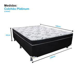 Cama Box Casal Conjugado Platinum (138x188x58cm) Preto