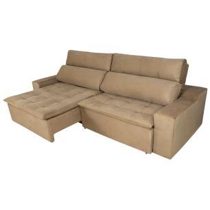Sofá 5 Lugares Connect 2,90m Retrátil e Reclinável com Pillow e Molas Veludo Bege