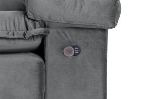 Sofá 4 Lugares com Molas Ensacadas Imperador Retrátil e Reclinável com USB Veludo Premuim - Grafite