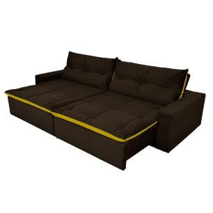 Sofá 4 Lugares Miró Com Pillow 2,50m Retrátil e Reclinável Pena