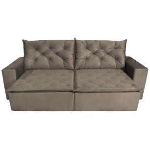 Sofá 4 Lugares Quality com Pillow Retrátil e Reclinável 2,30m Pena Camurça