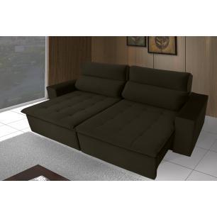 Sofá 4 Lugares Focus com Pillow 2.50m Retrátil e Reclinável Veludo Marrom
