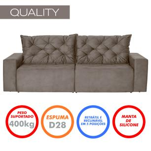 Sofá 3 Lugares Quality 2,10m Retrátil e Reclinável Pena - Camurça