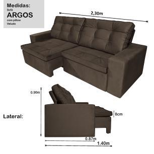 Sofá 4 Lugares Argos com Pillow Retrátil e Reclinável 2,30m Veludo Marrom