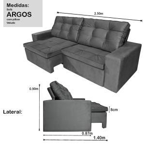 Sofá 4 Lugares Argos 2,50m com Pillow Retrátil e Reclinável Veludo Grafite