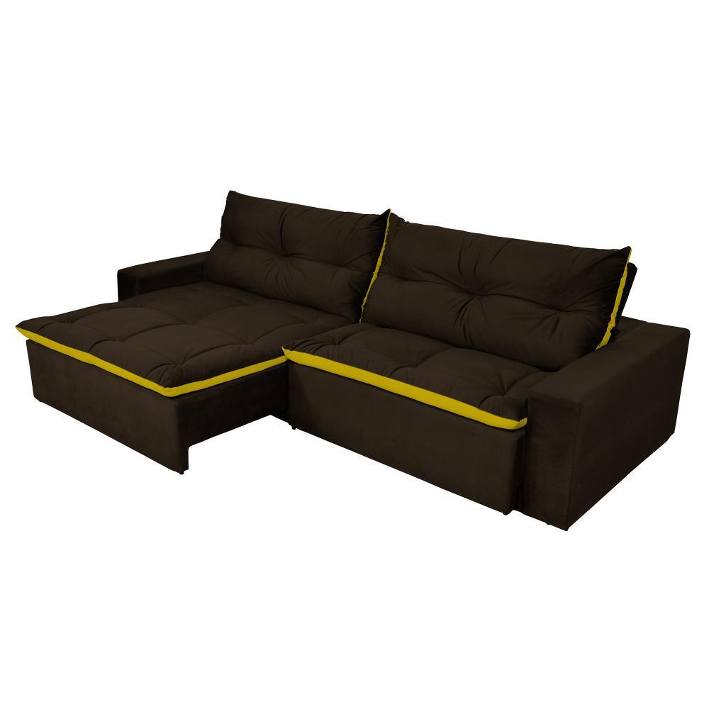 Sofá 5 Lugares Miró Com Pillow 2,90m Retrátil e Reclinável Pena Chocolate Com Amarelo