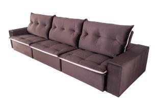 Sofá 6 Lugares Miró Com Pillow 3,50m Retrátil e Reclinável Veludo Premium Chocolate com Bege