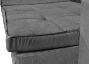 Sofá 3 Lugares Argos com Pillow Retrátil e Reclinável 2,10m Veludo Grafite