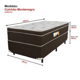 Cama Box Solteiro + Colchão de Espuma D33 Montenegro (88x188x70) Marrom