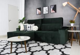 Sofá 5 Lugares Connect 2,70m Retrátil e Reclinável Veludo Premium Verde Esmeralda