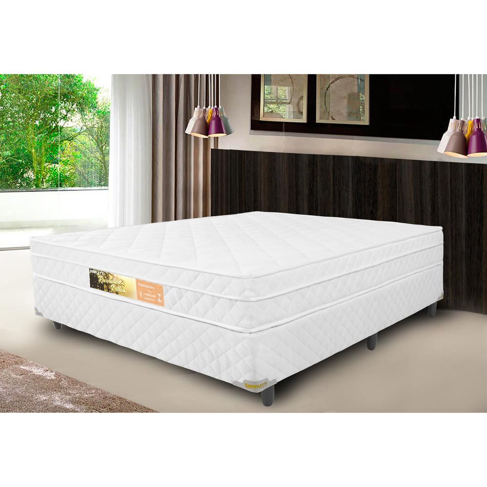 Cama Box Casal + Colchão de Molas Ensacadas com Pillow Revolution (138x188x62) - Branco
