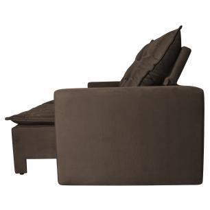 Sofá 4 Lugares Quality com Pillow Retrátil e Reclinável 2,30m Veludo Marrom