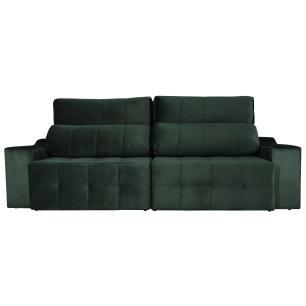 Sofá 4 Lugares Connect Retrátil e Reclinável 2,50m Veludo Premium Verde Esmeralda