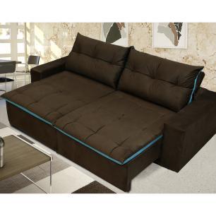 Sofá 4 Lugares Miró com Pillow Retrátil e Reclinável Pena -