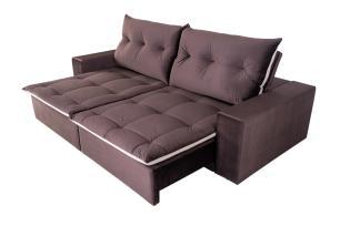 Sofá 4 Lugares Miró Com Pillow 2,50m Retrátil e Reclinável Veludo Premium Chocolate com Bege