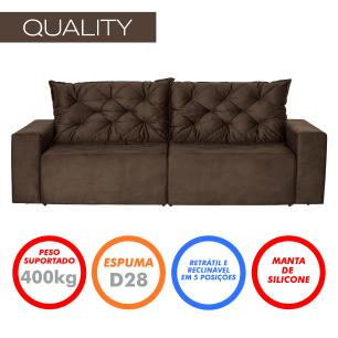 Sofá 3 Lugares Quality 2,10m Retrátil e Reclinável Veludo - Marrom