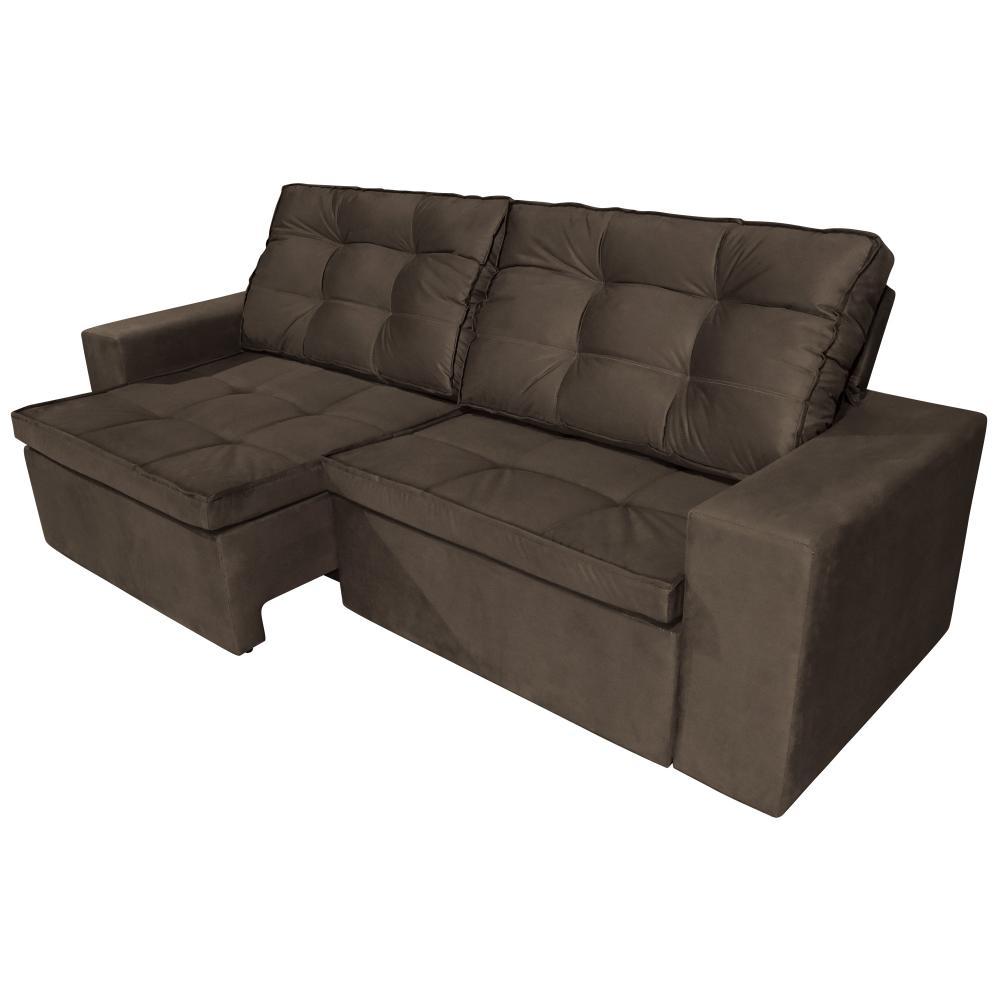 Sofá 3 Lugares Argos com Pillow Retrátil e Reclinável 2,10m Veludo Marrom