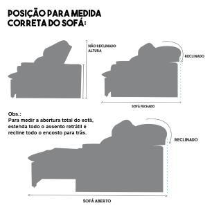 Sofá 4 Lugares Quality 2,50m com Pillow Retrátil e Reclinável Pena Camurça