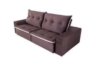 Sofá 4 Lugares Miró com Pillow Retrátil e Reclinável Veludo Premium - Chocolate Com Bege