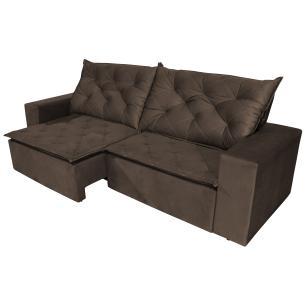 Sofá 3 Lugares Quality com Pillow Retrátil e Reclinável 2,10m Veludo Marrom