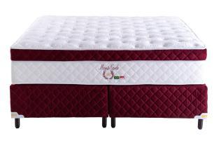 Cama Box Queen + Colchão de Molas Superlastic e Látex Monte Carlo (158x198x72) - Bordô
