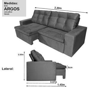 Sofá 4 Lugares Argos com Pillow Retrátil e Reclinável 2,30m Veludo Grafite