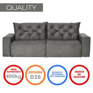 Sofá 3 Lugares Quality 2,10m Retrátil e Reclinável Veludo - Grafite