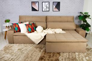 Sofá 5 Lugares Connect 2,70m  Retrátil e Reclinável com Pillow e Molas Veludo Bege