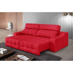 Sofá 4 Lugares Connect 2,30m Retrátil e Reclinável Pena Vermelho